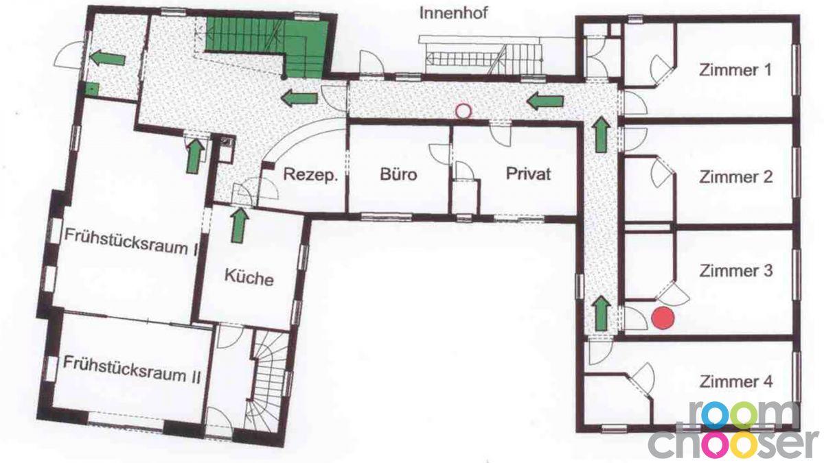 Accessible hotel room Das Grüne Hotel zur Post, 103, Floor plan